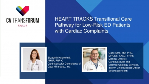 Thumbnail of CV Transforum Fall'19 – HEART TRACKS Transitional Care Pathway for Low-Risk ED Patients with Cardiac Complaints Video