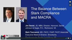 Thumbnail image for CV Transforum Fall'17: The Balance Between Stark Compliance and MACRA - Townsend and Daniel