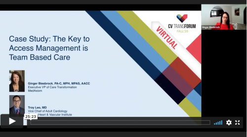 Thumbnail of CV Transforum F'20 Virtual: Case Study: The Key to Access Management is Team-Based Care Video